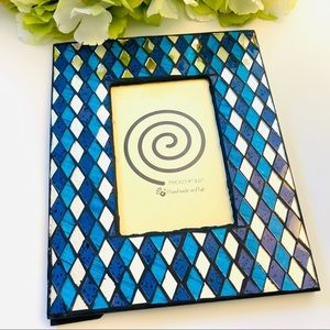 Blue diamond pattern mosaic frame for 4x6 pic new